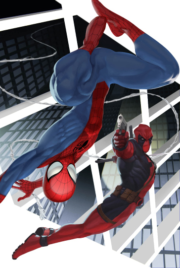 Spiderman X Deadpool. Comic Art Project. ©2014 Marvel Inc